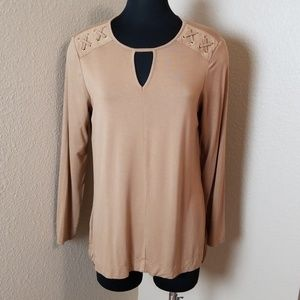 Chicos Long Sleeve Brown Blouse